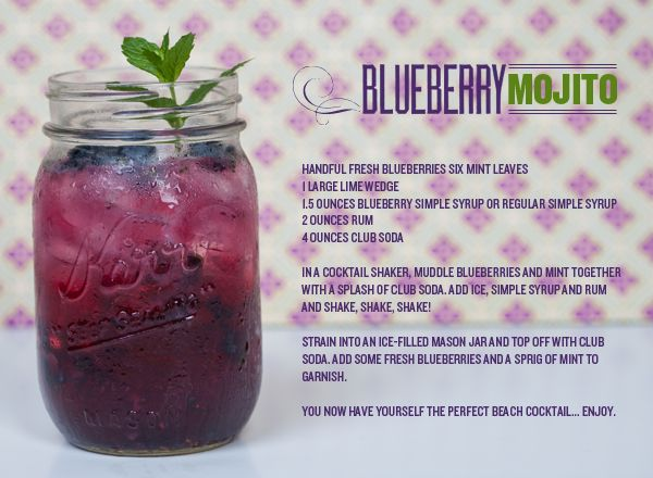 oh so blueberry mojito: Signature Drinks, Blueberries Mojito, Summer Drinks, Mojito Recipe, Drinks Mojito, Charms Blog, Jars Blueberries, Mason Jars, Beaches Cocktails
