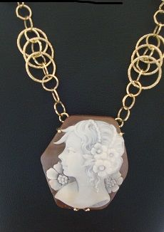 gold chain with handcarved cameo