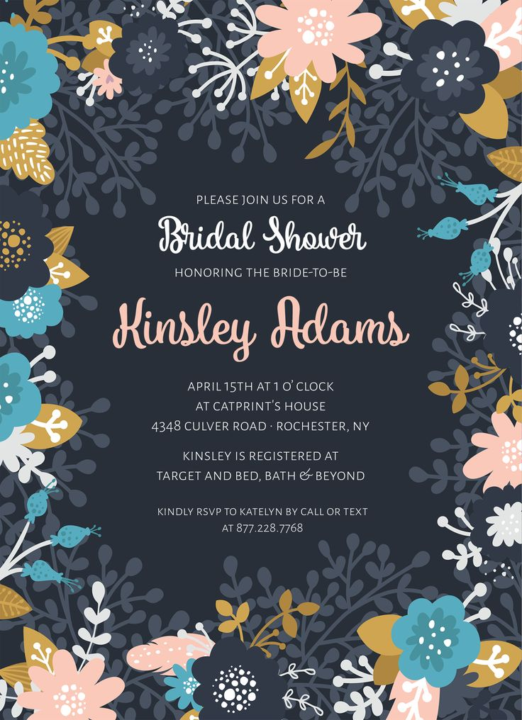 Floral Bridal Shower Invitation CatPrint Design