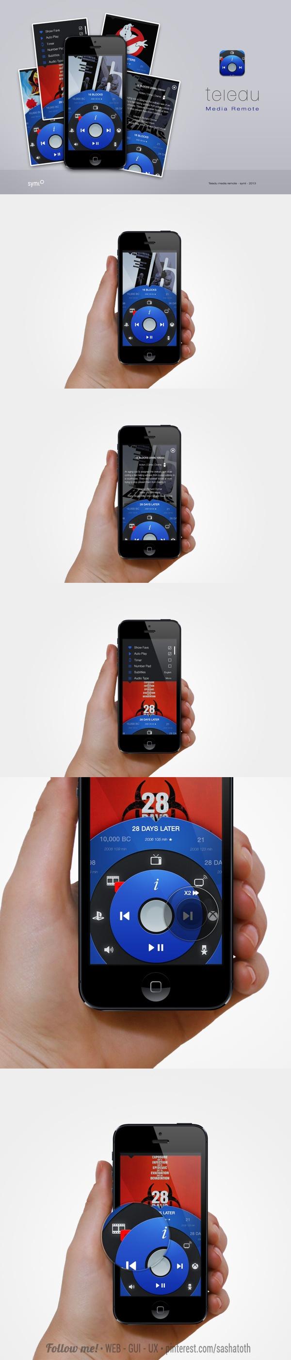 Teledu IOS media remote app concept by Ryan Jones *** #app #iphone #gui #ui #behance