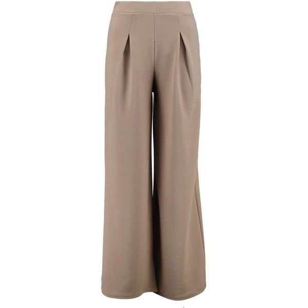 Boohoo Petite Petite Millie Wide Leg Pleat Trouser ($26) ❤ liked on Polyvore featuring pants, basic t shirt, wide leg palazzo pants, sports pants, pleated pants and brown pants