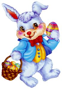 Easter Bunny with Egg Basket Clipart