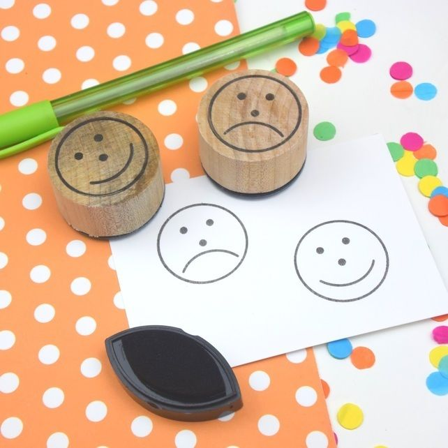 Handmade sad face and happy face stamps £13.00