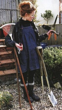 Alys Fowler, gardening, home, wellies, smock dress, denim, up do, messy bun, tools, outfit, glasses