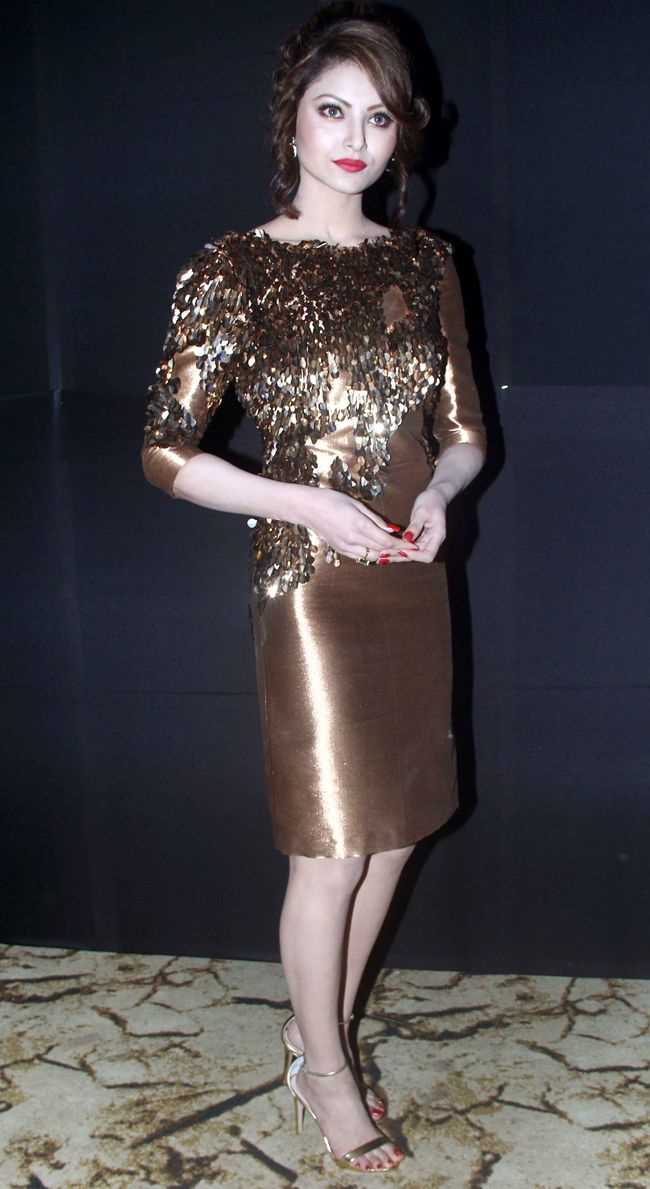 Urvashi Rautela at the launch of the album 'Desi Kalakaar' in a tacktastic golden number. #Bollywood #Fashion #Style #Beauty