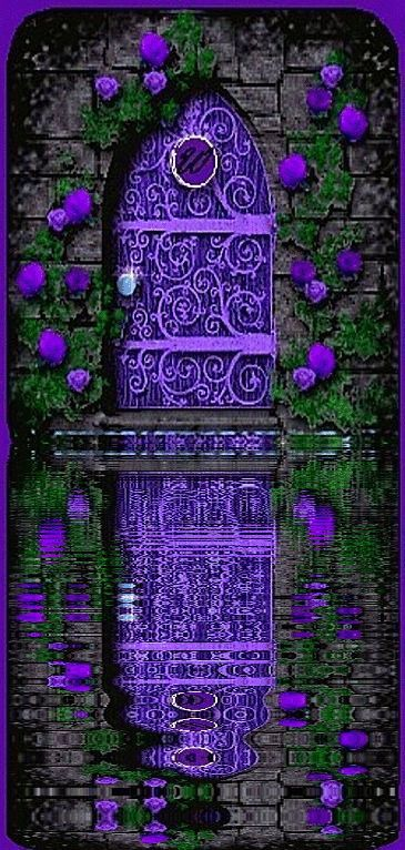 Purple door and reflection in water