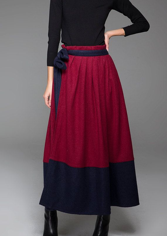 Block Color Woman's Skirt - Warm Wool Wine Red & Navy Blue Long Maxi Winter Skirt with Matching Belt (1429)