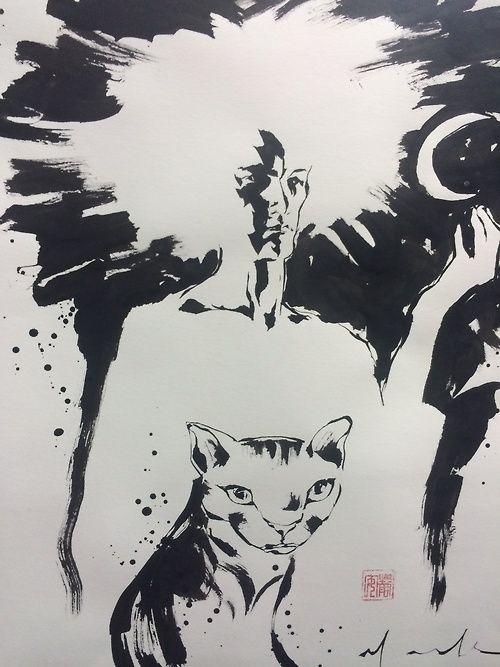 David Mack  Sandman… and a cat.  Brush & ink.