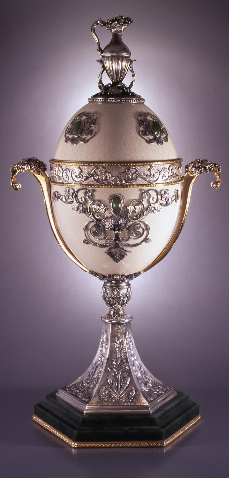 Ostrich egg shell and gilded gold ~ Applied Arts Museum, Budapest