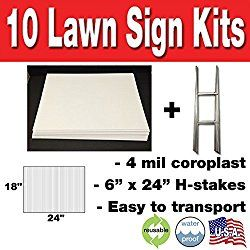10 Quantity Blank Yard Signs 18×24 with h-stakes for Garage Sale Signs, Graduations, Open House, Estate Sale, or Political Lawn Sign