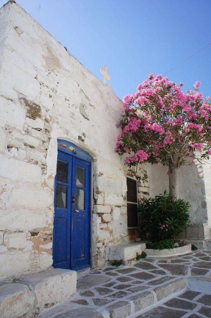 Bougainvillea in Parikia, Paros. Parikia is the biggest town in Paros, Greece.