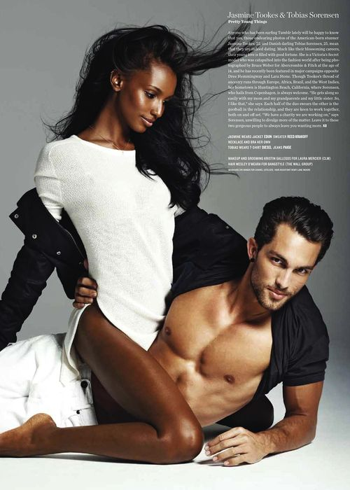 Jasmine Tookes and her boyfriend Tobias Sorensen by by Philippe Vogelenzang for V Magazine Spring 2013