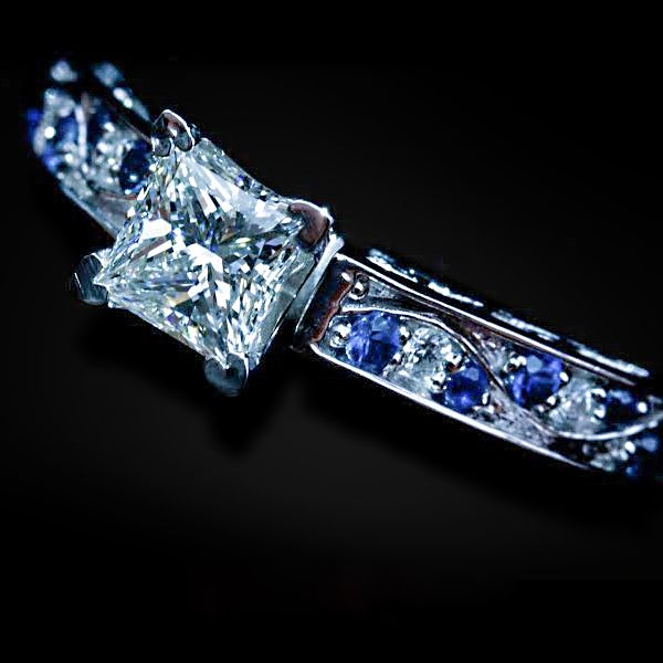 Princess and sapphire white gold engagement rings