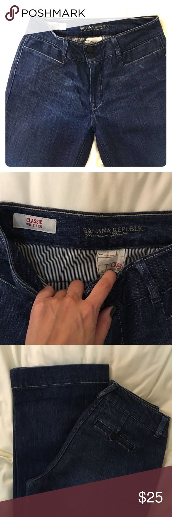 """Banana Republic """"Classic"""" Blue Jeans Great condition! Size 8, but more of a 6 with a slight stretch. Wide legged, dark blue jenas. Banana Republic Jeans Flare & Wide Leg"""