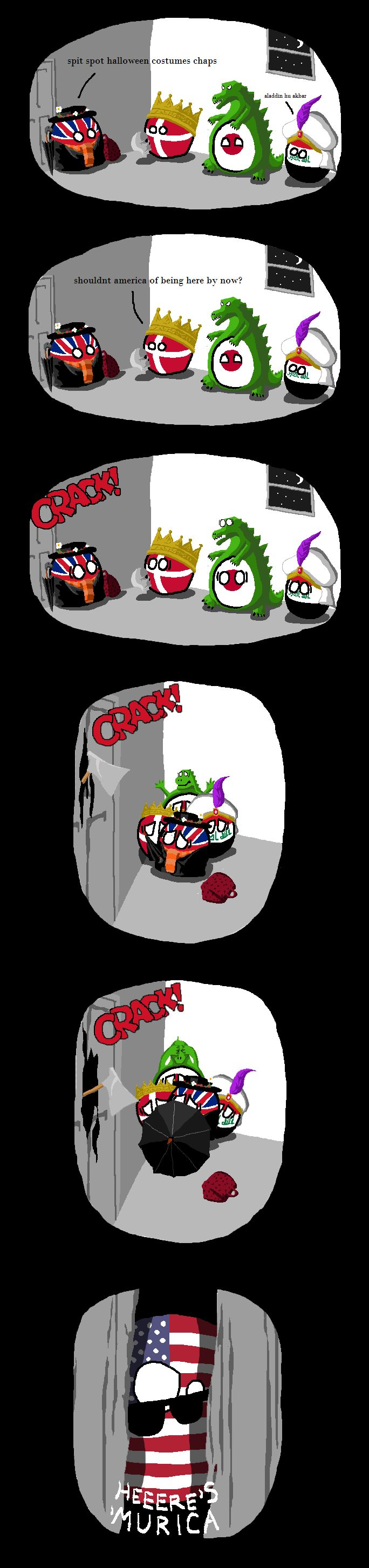 """Halloween Costumes"" The Shining ( UK, Denmark, Japan, Iraq, USA ) by arrz  #polandball #countryball"