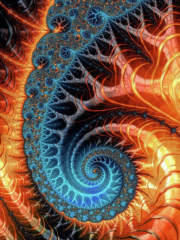 Fractal Spiral: Colorful luxe spirals turquoise brown and orange. All prints are professionally printed, packaged, and shipped within 3 - 4 business days. Choose from multiple sizes and hundreds of frame and mat options. Fractal Art Prints by Matthias Hauser fractal-art-prints.com - Fractals for your Home Decor and Interior Design needs.