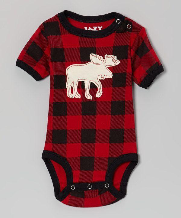 Red & Black Buffalo Check Moose Bodysuit - Infant