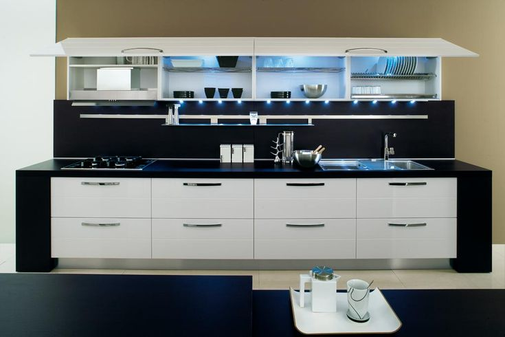 Dark top and white cupboards