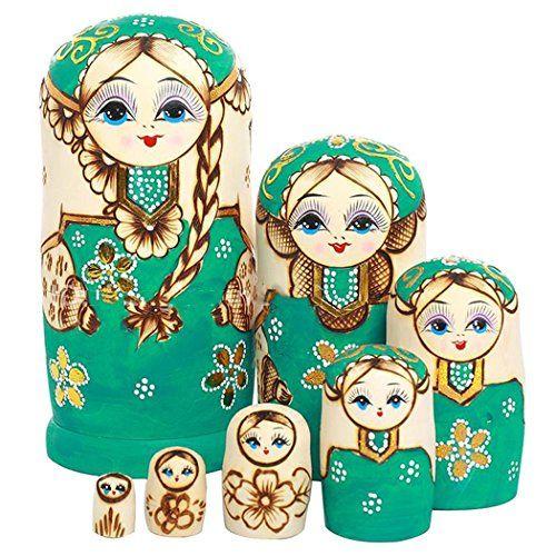 F. dorla 7pièces fait à la main en bois poupée gigogne russe Matriochka poupée