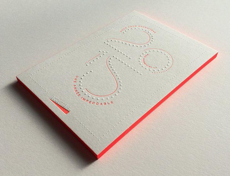 Print : Badcass - Design : Accentaigu - Carte de voeux en letterpress - #gaufrage #débossage #pantone #fluo