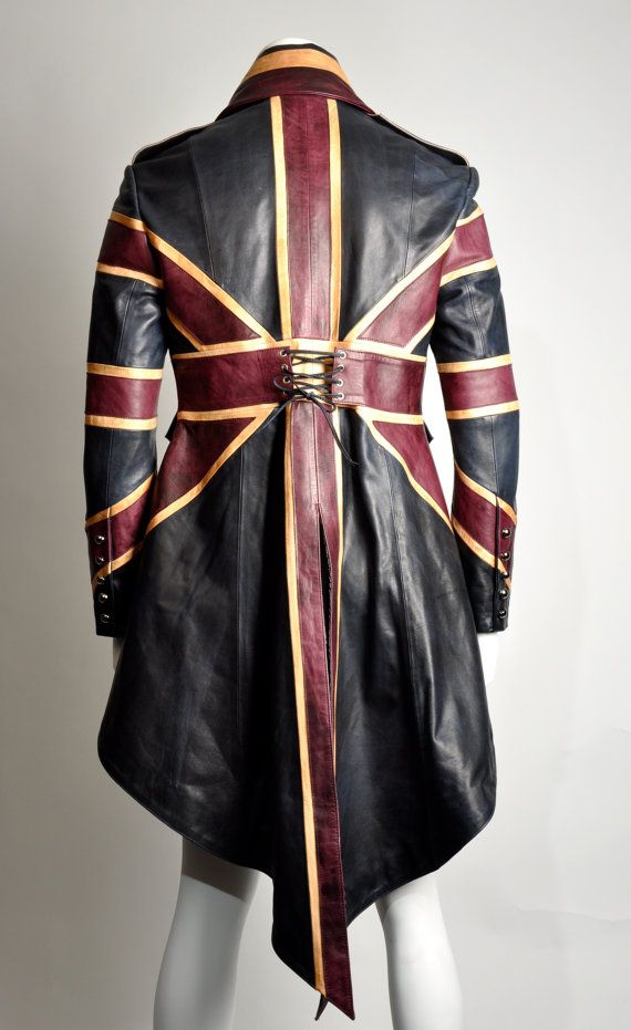 Union Jack Mens Leather Diamond Jubilee Exclusive Steampunk Tail coat Impero London. $4,580.00, via Etsy.