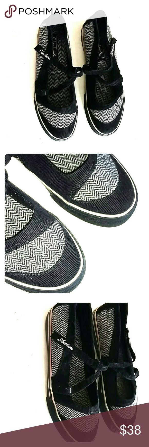 SKECHERS BLACK TWEED MARY JANES Design as Shown Very Gently Used Condition Mary Jane Style w Velcro Closure Skechers Shoes