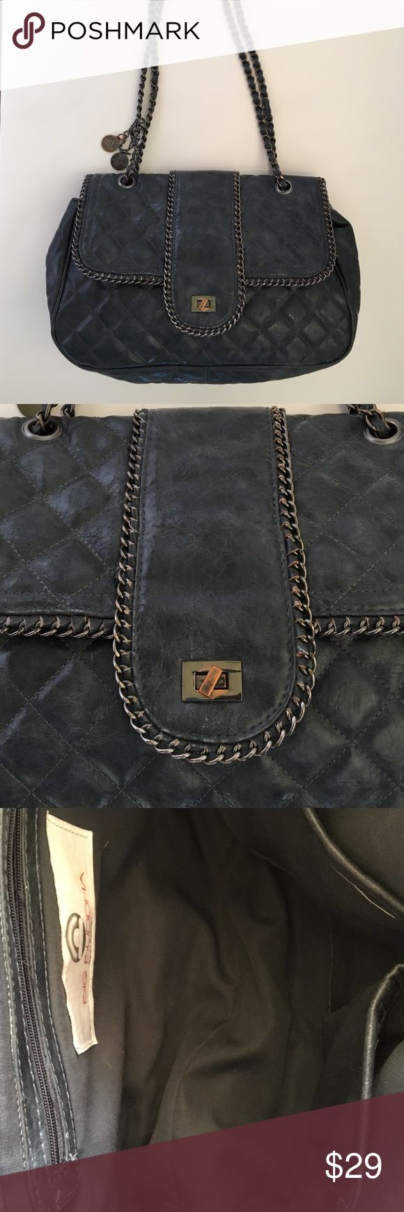 """Grey quilted BIG BUDDHA BAG Super cool quilted 100% poly bag. Good condition, some tarnish on metal. 13x9 1/2"""". Straps 30"""" 13 1/2"""" drop. Big Buddha Bags Shoulder Bags"""