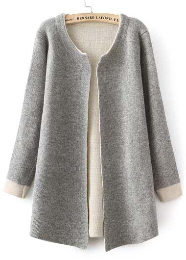 Long Sleeve Wool Cardigan in Grey//