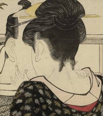 Lovers in an upstairs room, from Uta makura ('Poem of the Pillow'), a colour woodblock print, detail