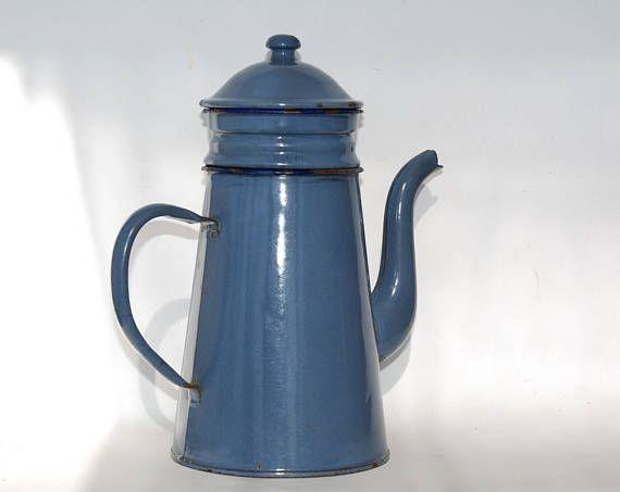 Blue Enamel Coffee Pot French Vintage Coffee maker Farmhouse