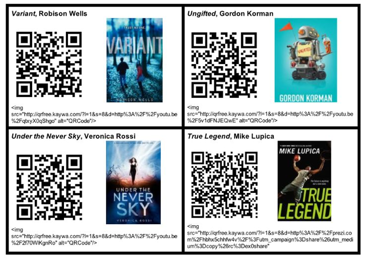 QR Codes linked to book trailers, presentations and interviews about books related to the state reading award nominees.