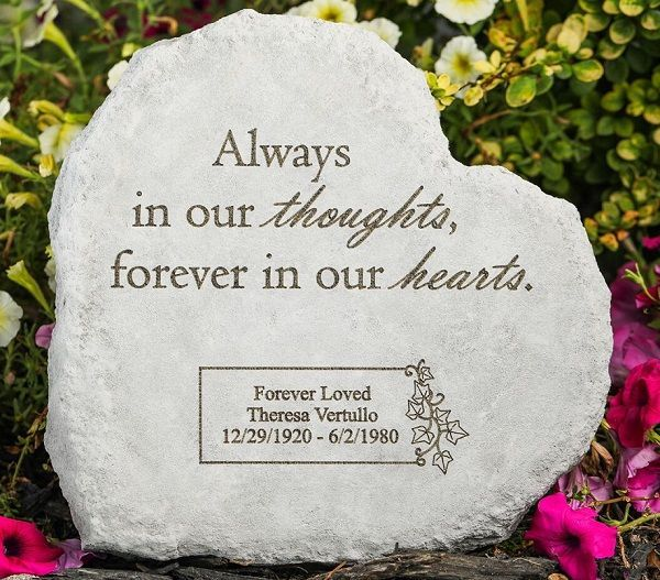 Add The Personalized Memorial Stone Always In Our Thoughts To A Special Area Of Remembran Personalized Memorial Stones Memorial Stones Memorial Garden Stones