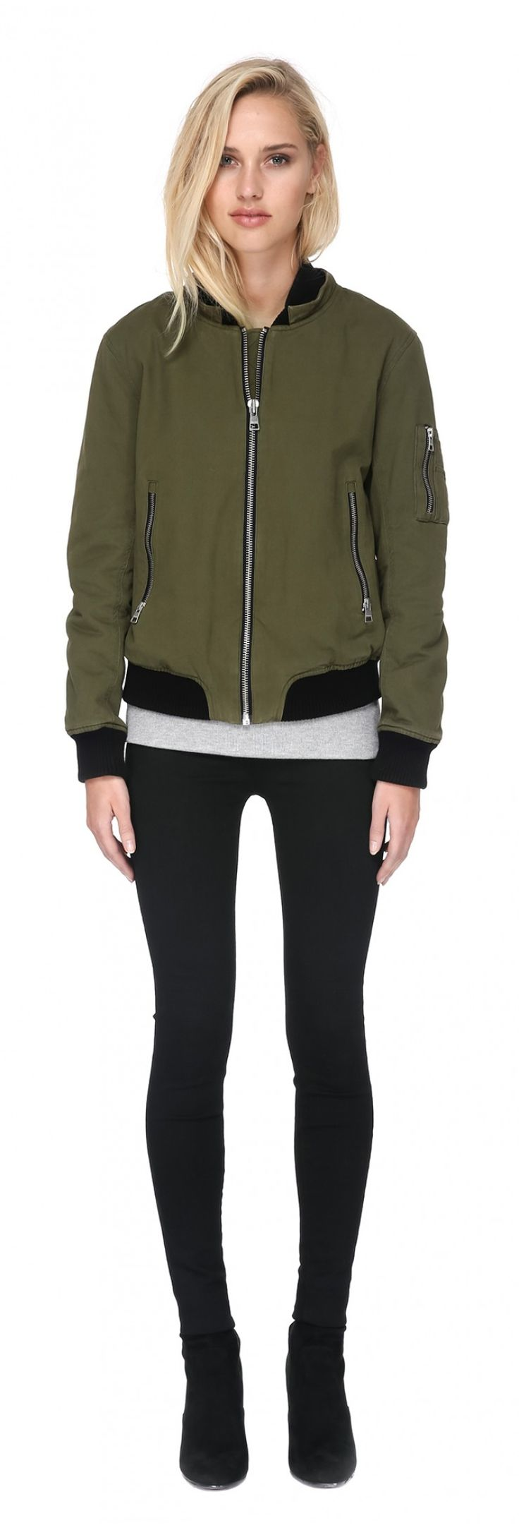 BRANCA-R bomber jacket with removable hood and fur in army