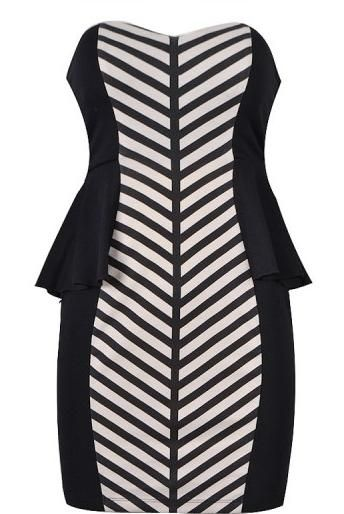 Branched Peplum Dress: Features a sharp sweetheart bustline, mesmerizing dual panels of branched stripes running down the front for an instant slimming effect, flared peplum waist for a flirty silhouette, and an exposed rear zipper to finish.