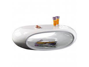 Couchtisch weiß Hochglanz Ufo oval mit Ablage 1330 von SalesFever