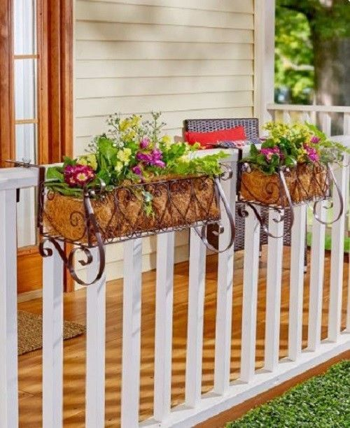 Railing Planter Rail Balcony Deck Box Metal Porch Patio Hanging