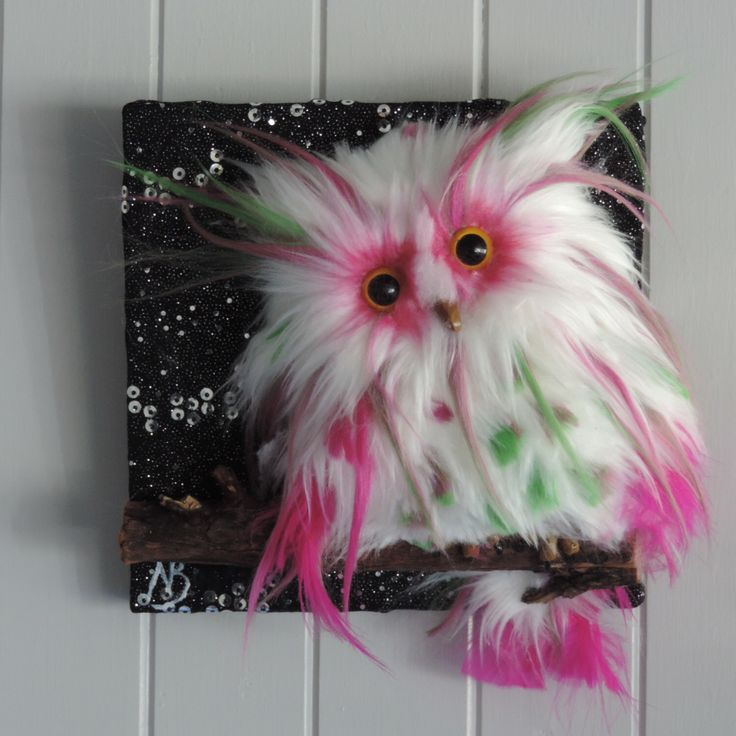 Cute Bright pink, green and white 3D fur feather owl star wall hanging. Nursery…