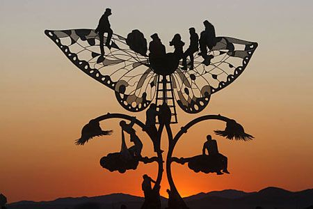 butterfly sculpture at burning man.