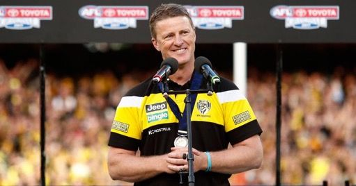 Damien Hardwick champion coach of the 2017 grand final team winner Richmond.