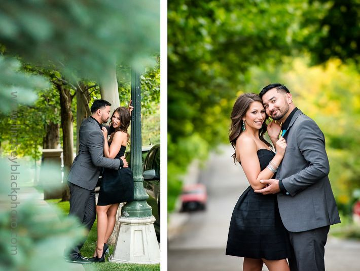 Urban engagement photos in SLC Utah | Utah Wedding Photographer | Lindsey Black Photography | Park City Weddings | SLC Bride | Little Black Dress | 9th and 9th | Gray Suit | Date Night Out