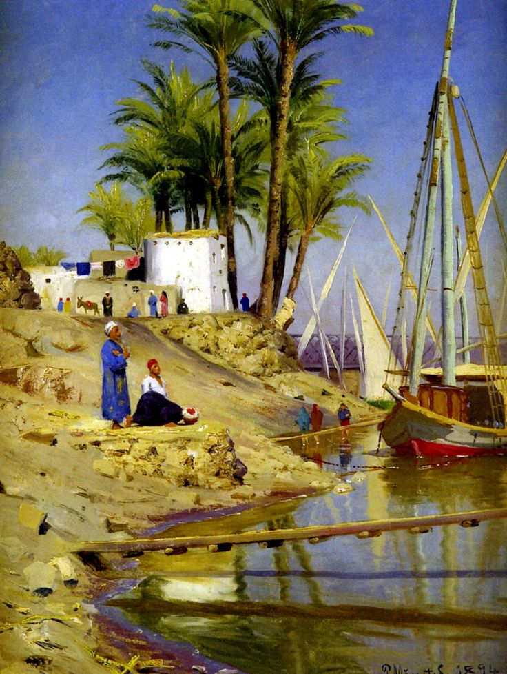 Egypt , Old Cairo Paintings: Peder Mork Monsted (Danish, 1859 - 1941) - View of…