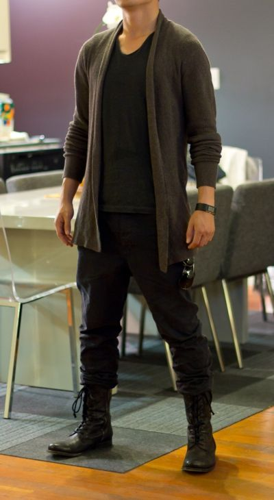 Brown Long Cardigan by All Saints Charcoal Scoop Neck Shirt by All Saint sInk Carrot Fit Chinos by All Saints Black Sidezip Combat Boots by All Saints