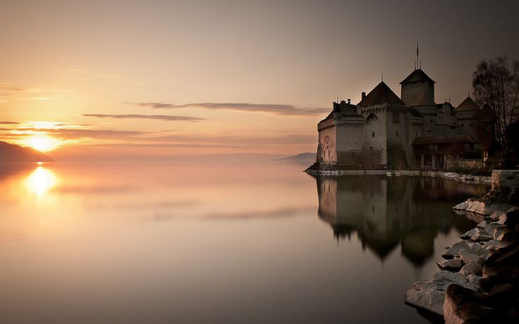 озеро, вода, отражение, солнце, замок