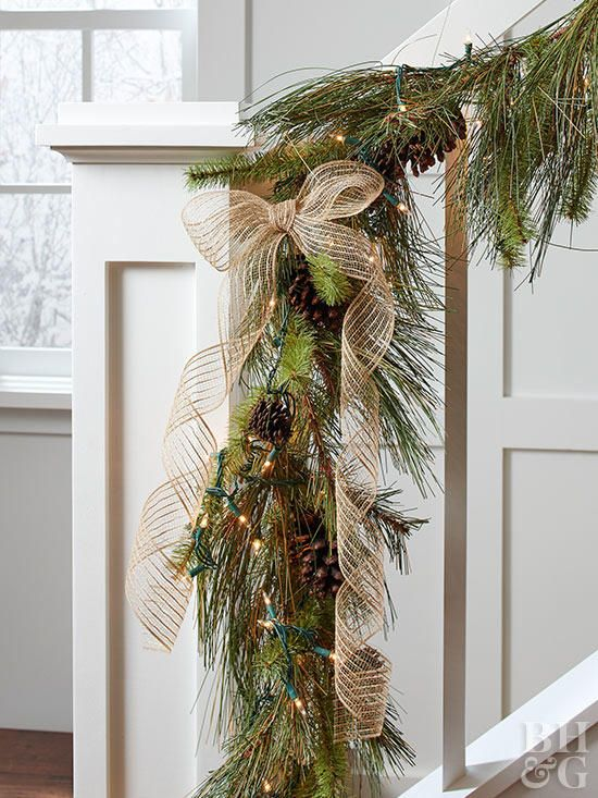 How To Wrap A Garland With String Lights Holiday Decorating Ideas Pinterest Christmas Decorations And
