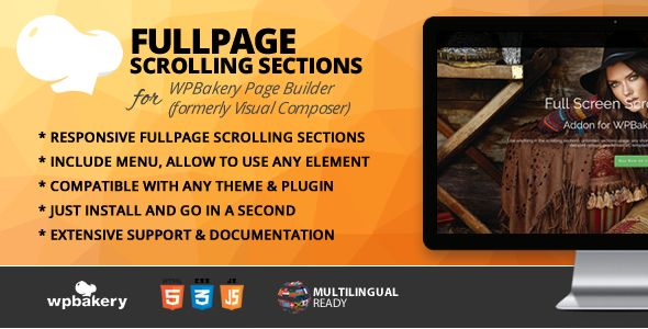 Fullpage Scrolling Sections Addon for WPBakery Page Builder