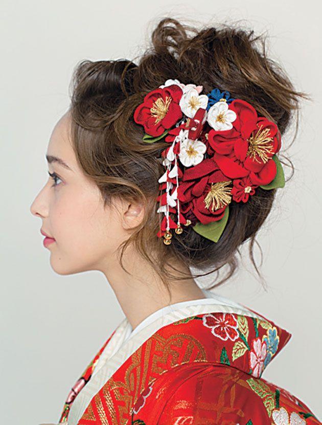 生花 ヘアアクセサリーでつくる きものヘア最旬スタイル