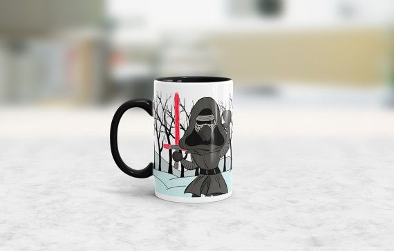 Relive the great lightsaber fight between Finn and Kylo Ren....all while drinking your favorite cup of coffee!  Get 2 of your favorite The Force Awakens characters on your very own coffee mug!  ~ 15oz ceramic mug in white with black handle and interior ~ Drawing of Kylo Ren on the left side with his red lightsaber and Finn on the right side with Lukes blue lightsaber fighting in the snow. ~ Dishwasher and microwave safe, however hand washing is recommended ~ Original digitally drawn image…