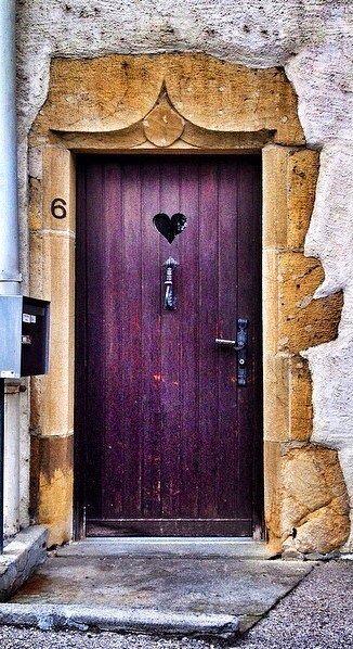Purple Door with a cut-out Heart - Saint-Blaise, Neuchâtel, Switzerland