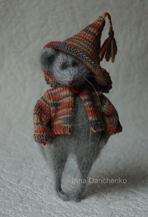 Knitted Mouse Toy Soft Sculpture - ready to ship