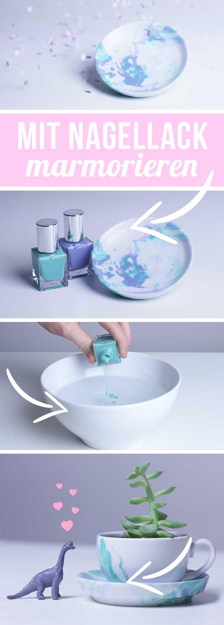 #WinterNägelMarmorieren mit Nagellack – Anleitung Tasse marmorieren DIY Geschenkidee